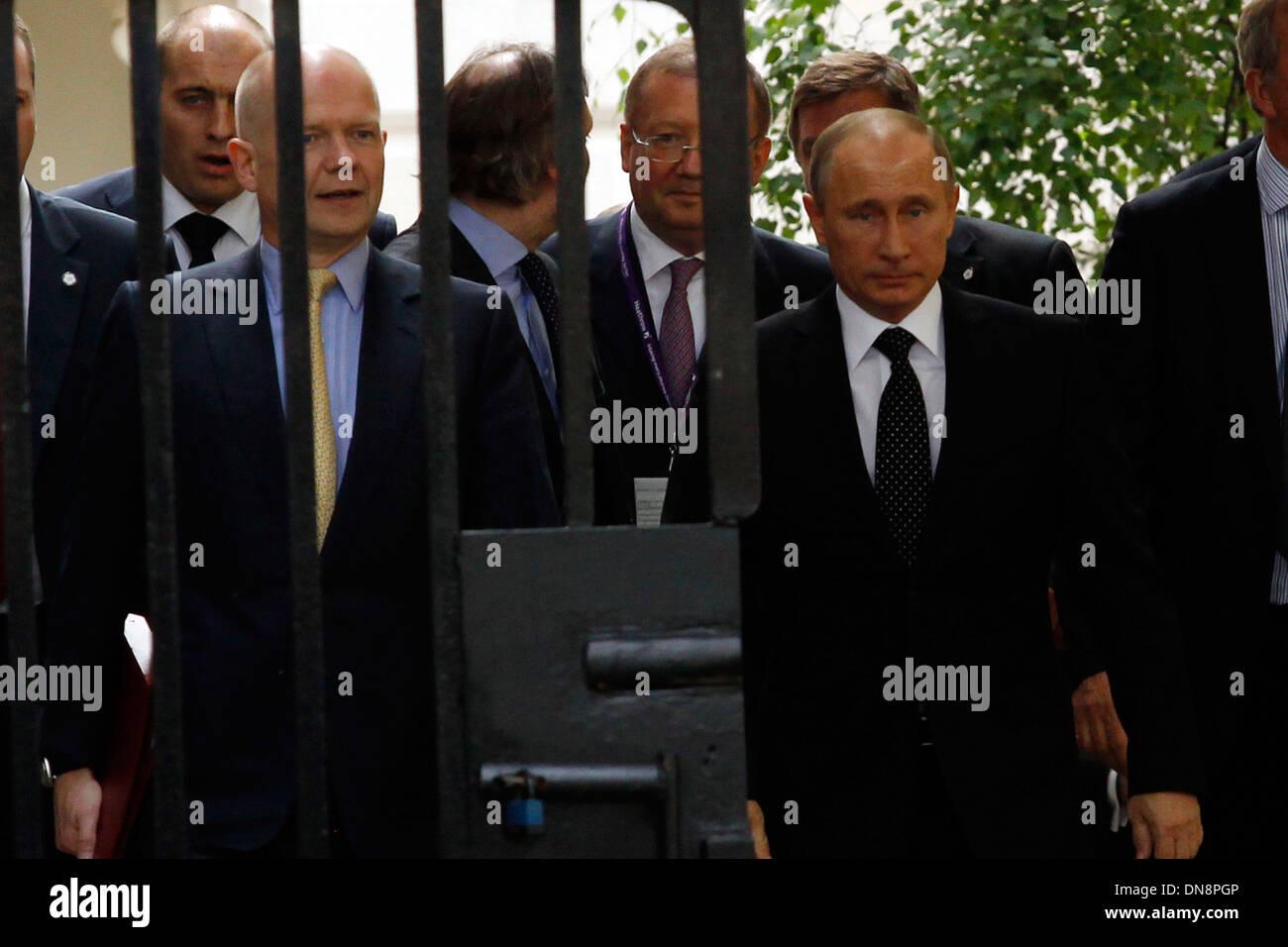 British Prime Minister David Cameron meets Russian President Vladimir Putin Stock Photo