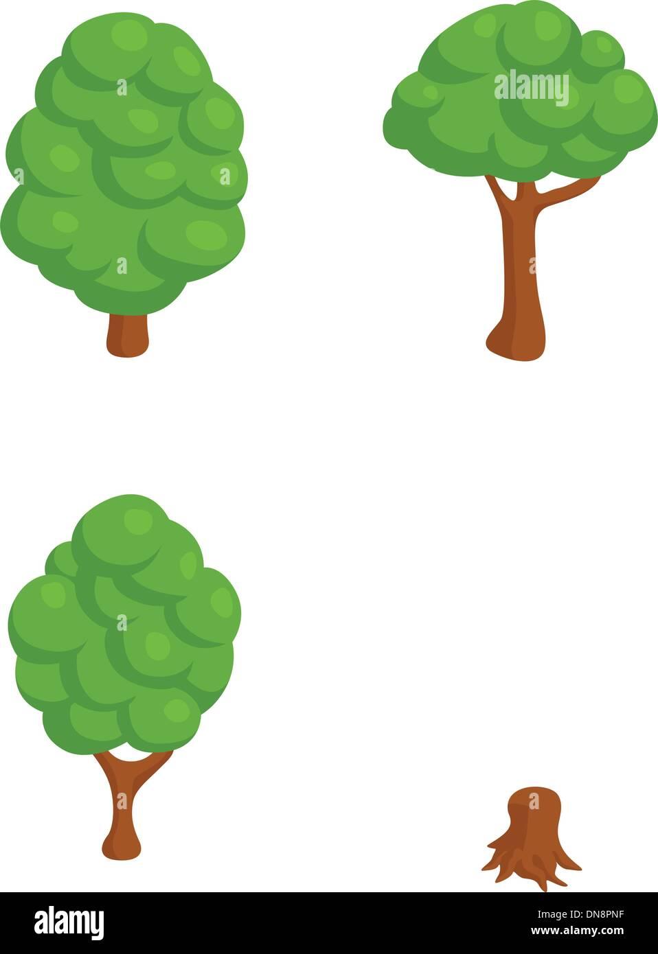 Set of 4 Isometric Trees - Stock Image