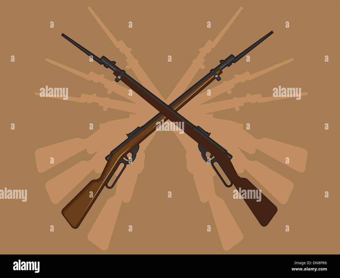 World War II Rifle with Bayonet - Stock Vector