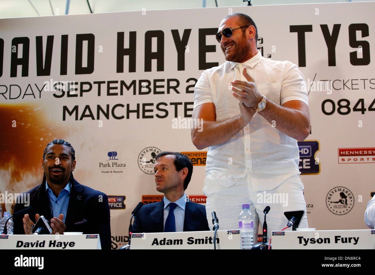 British heavyweight boxer Tyson Fury attends a press conference to announce his upcoming title fight against David Haye - Stock Image