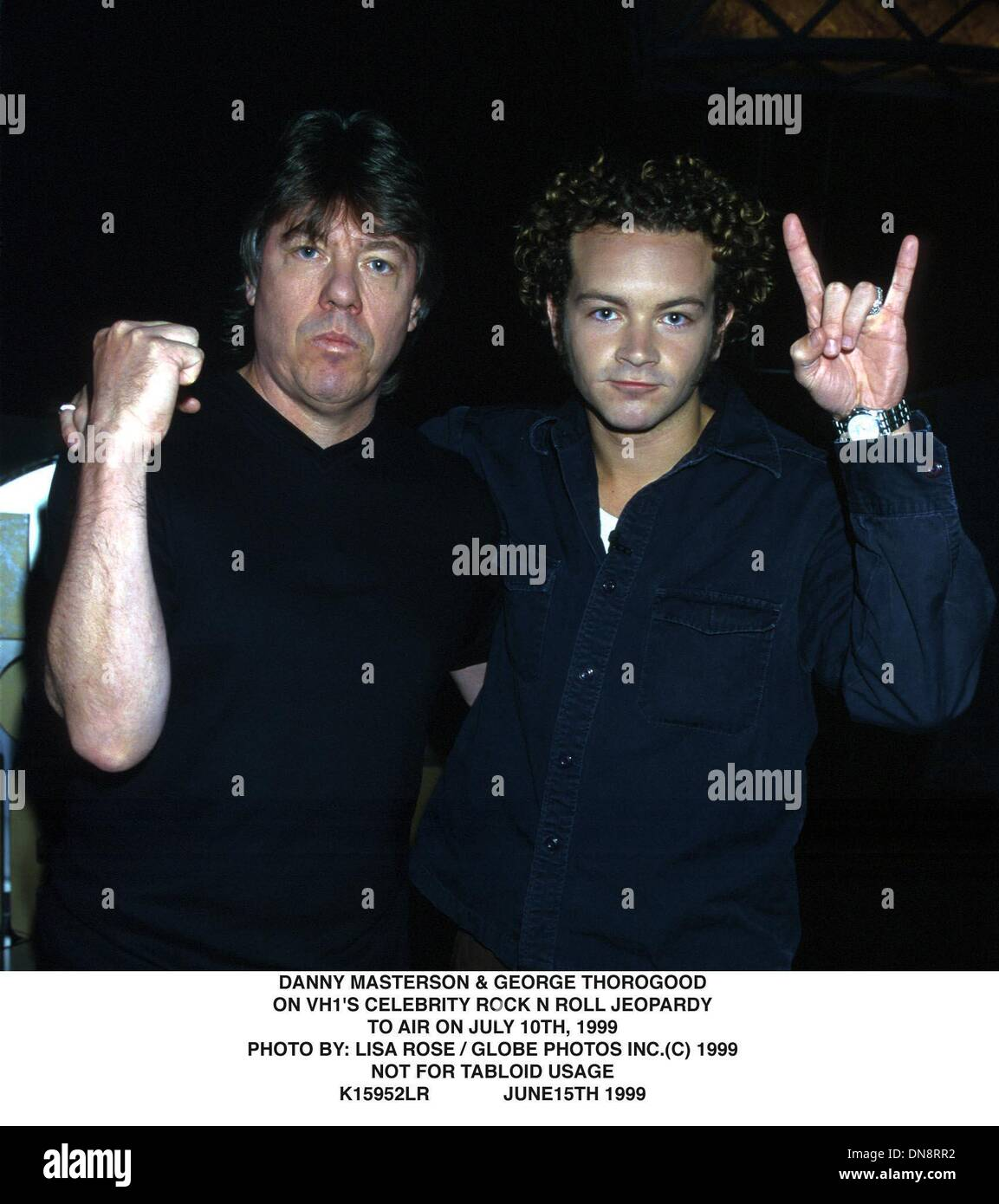 June 15, 1999 - K15952LR      06/15/99.***NOT FOR TABLOID USAGE***.DANNY MASTERSON & GEORGE THOROGOOD.ON VH 1'S CELEBRITY ROCK N ROLL JEOPARDY.TO AIR ON JULY 10th, 1999.. LISA ROSE/   1999(Credit Image: © Globe Photos/ZUMAPRESS.com) - Stock Image