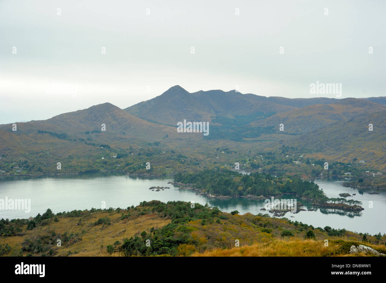 Garnish Island and Sugarloaf from the old Bantry to Glengarriff Road - Stock Image