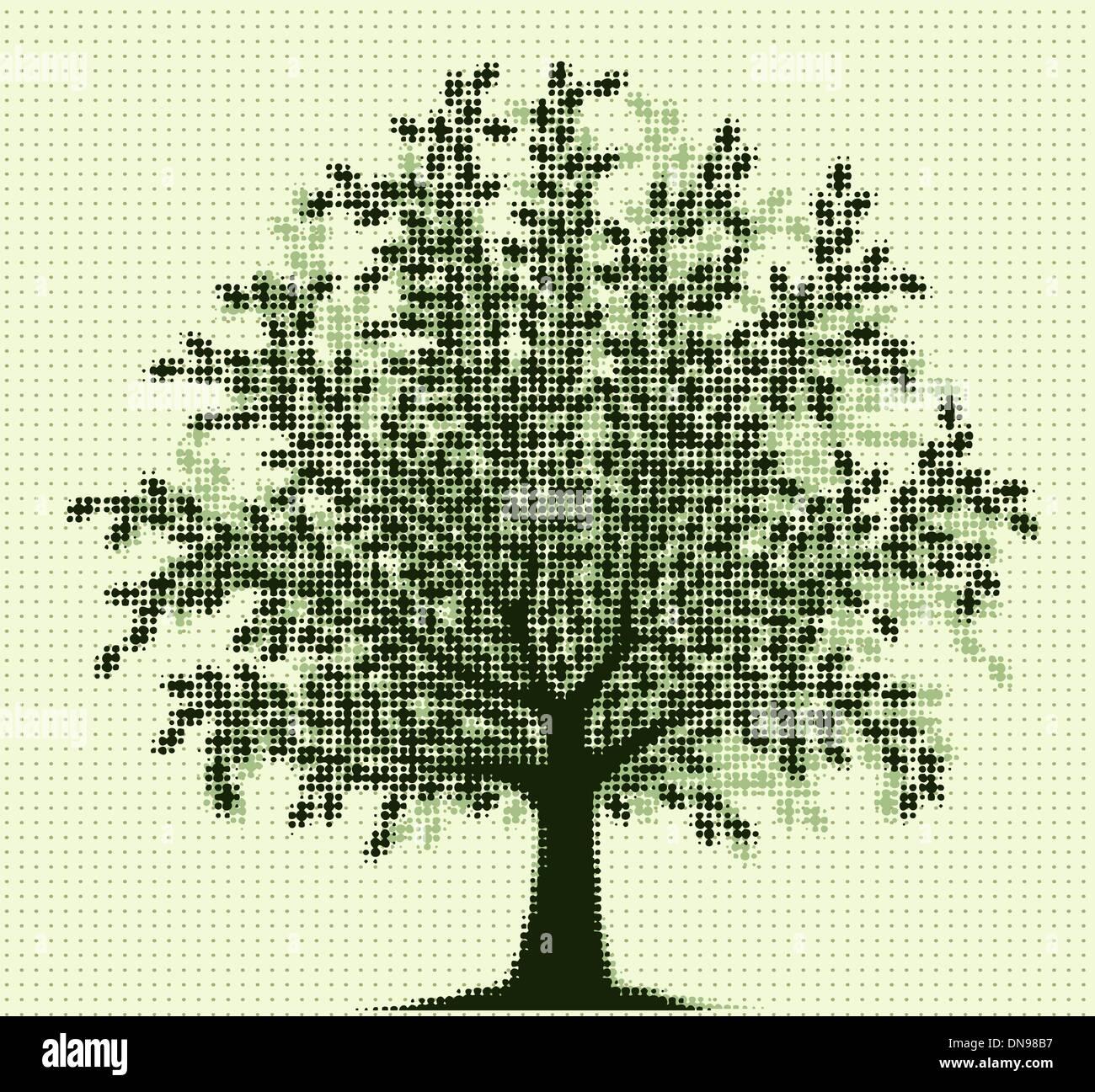 Halftone tree - Stock Image