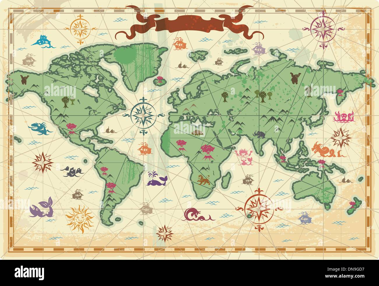 Colorful ancient world map stock vector art illustration vector colorful ancient world map gumiabroncs Gallery
