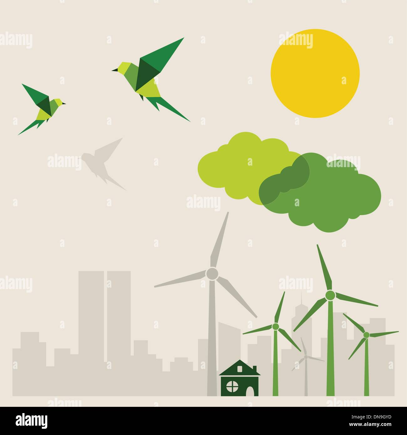 Ecology a city - Stock Vector