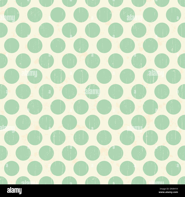 Seamless retro grunge polka dots background - Stock Image