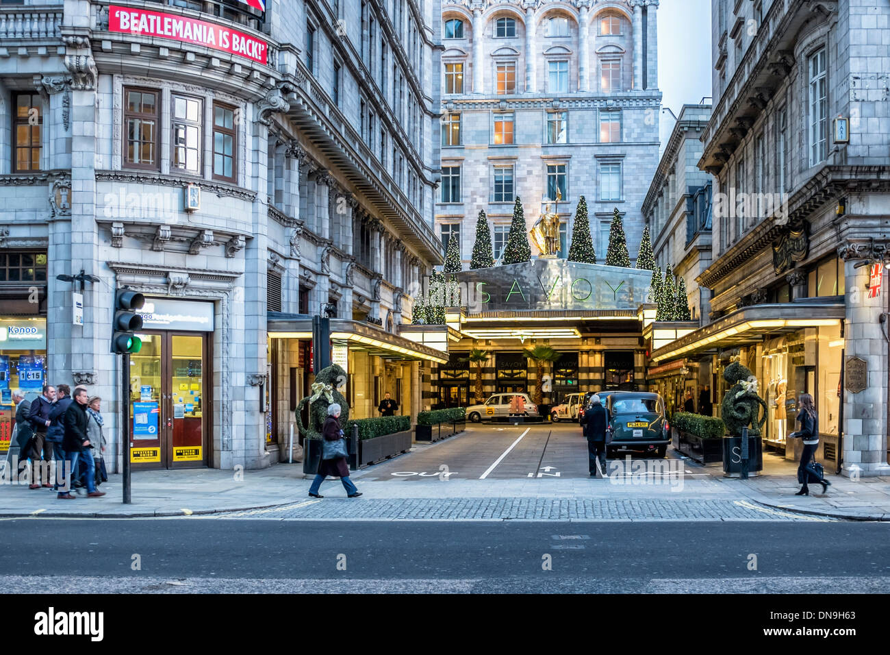 Entrance to the Savoy Hotel The Strand, London - Stock Image