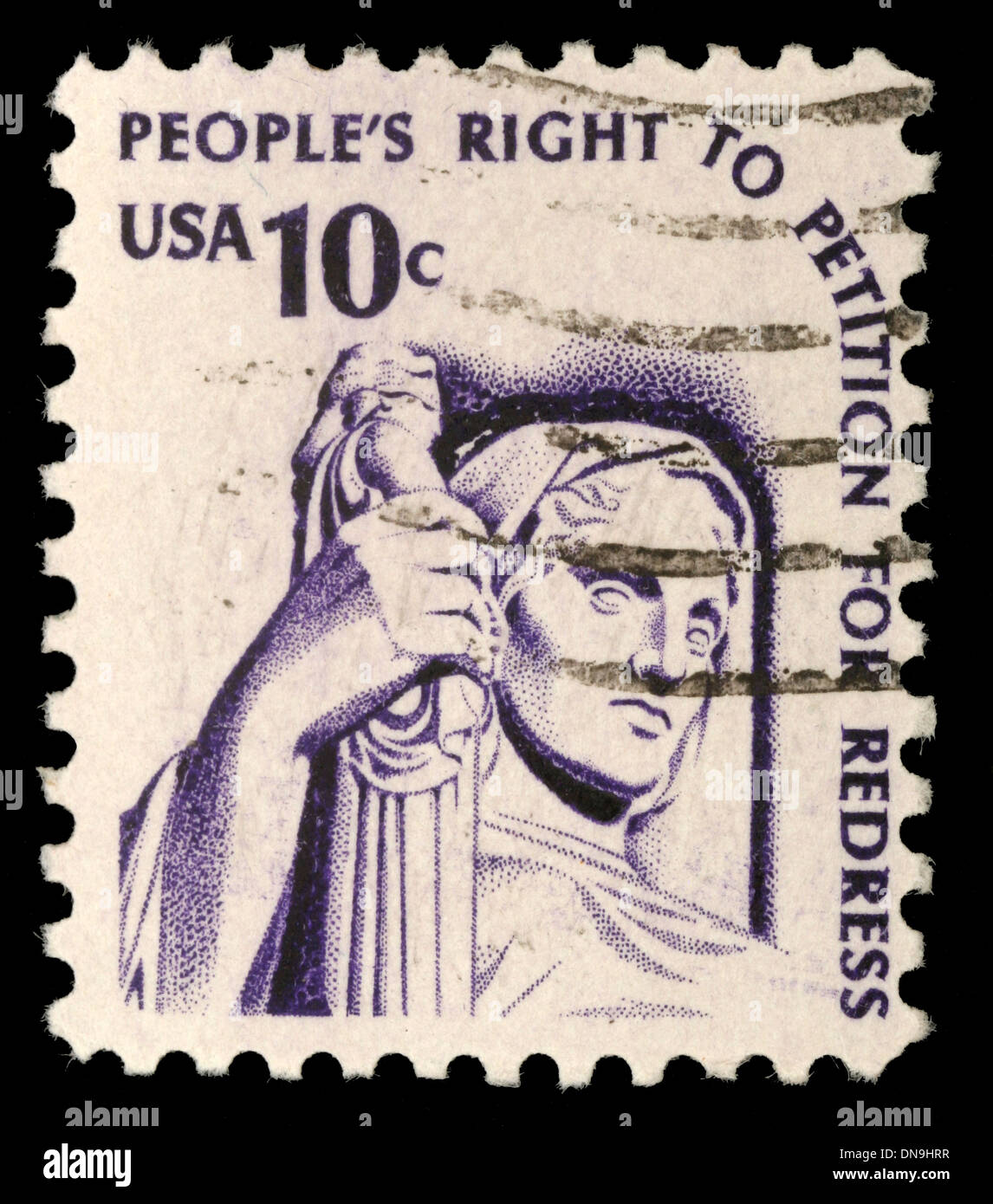 USA - CIRCA 1975: A stamp printed in the USA shows Contemplation of Justice (statue, J. E. Fraser), circa 1975 - Stock Image
