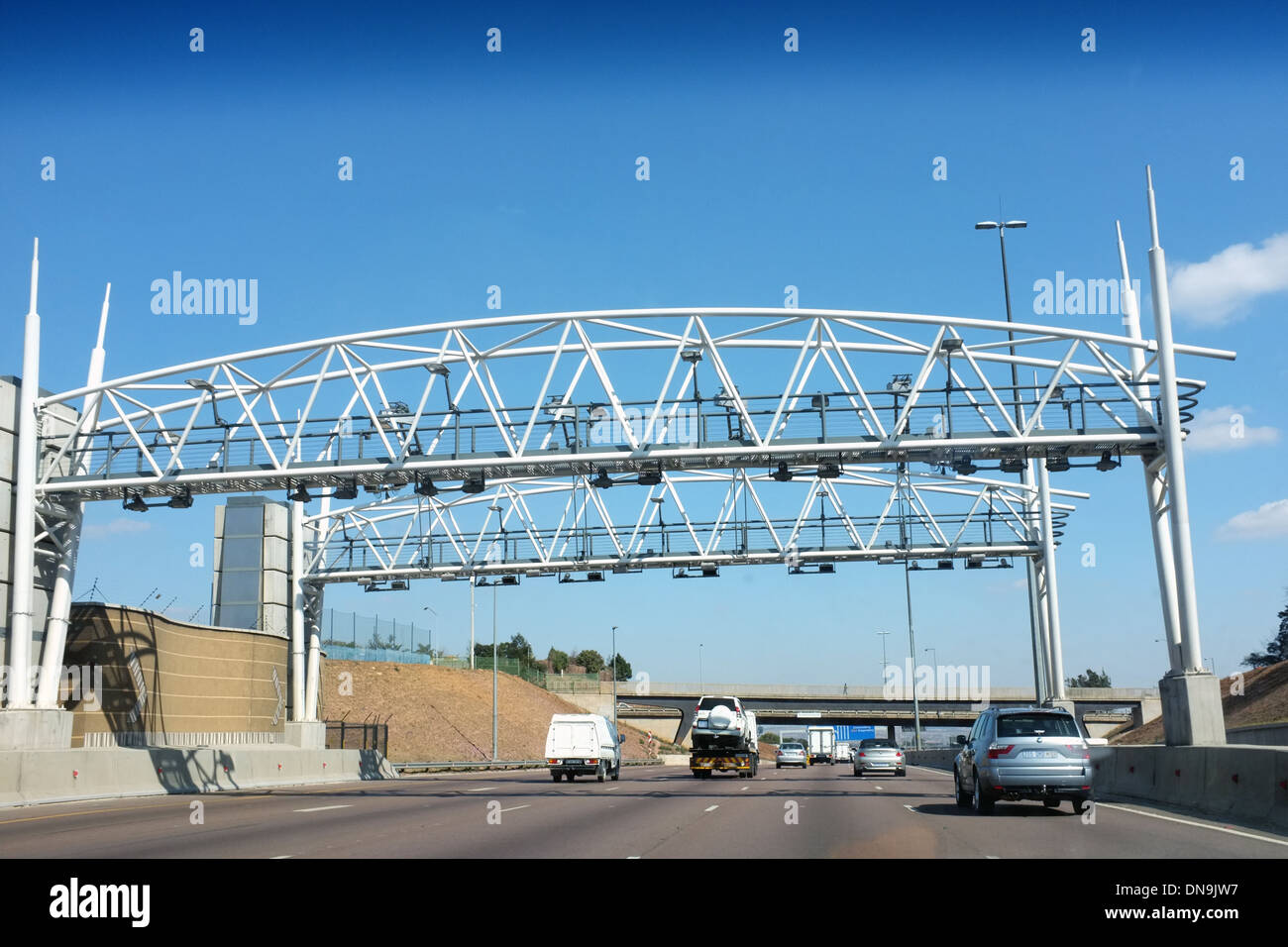 E Toll Stock Photos Images Alamy Gates On A Highway In Johannesburg South Africa Image