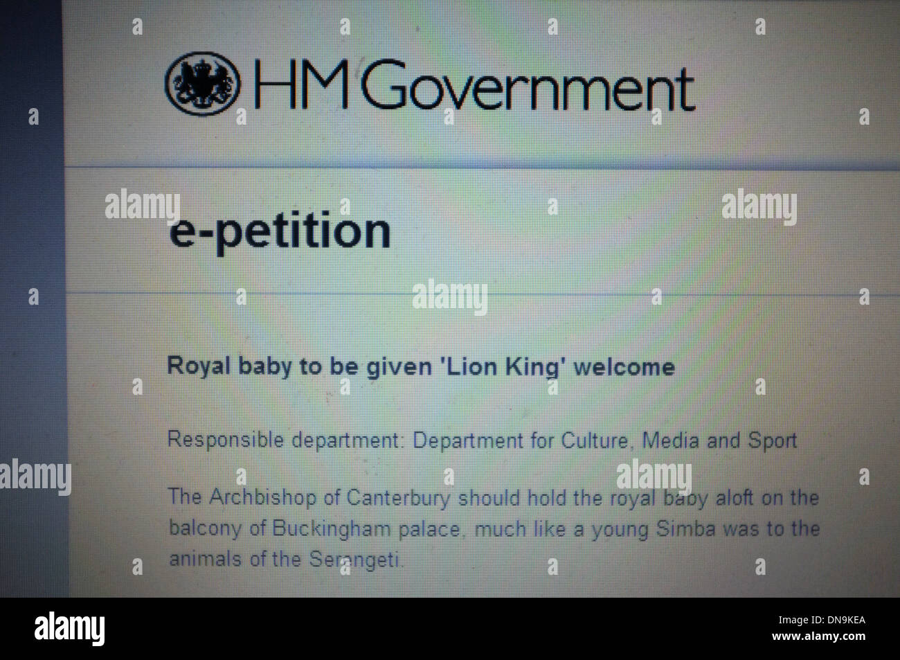 A petition on the British Government website calling for the new Royal baby to be given a Lion King welcome. - Stock Image