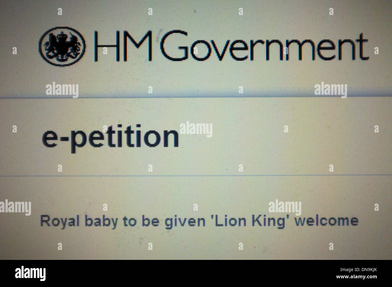 An e-petition on the British Government website calling for the new Royal baby to be given a Lion King welcome. - Stock Image