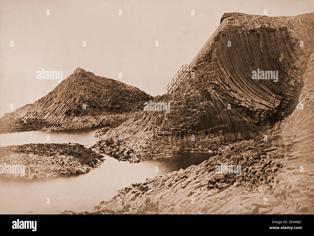 Clamshell Cave, Staffa, Scotland UK by George Washington Wilson circa 1875 - Stock Image