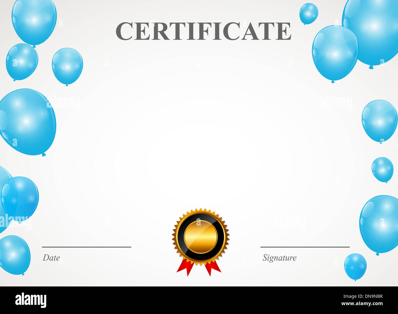 certificate with balloons template vector illustration stock photo