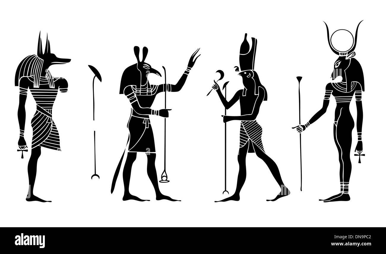 Egyptian gods and goddess - Stock Image