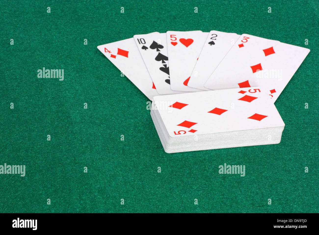 An image showing the concept of chance and luck with a deck of cards - Stock Image