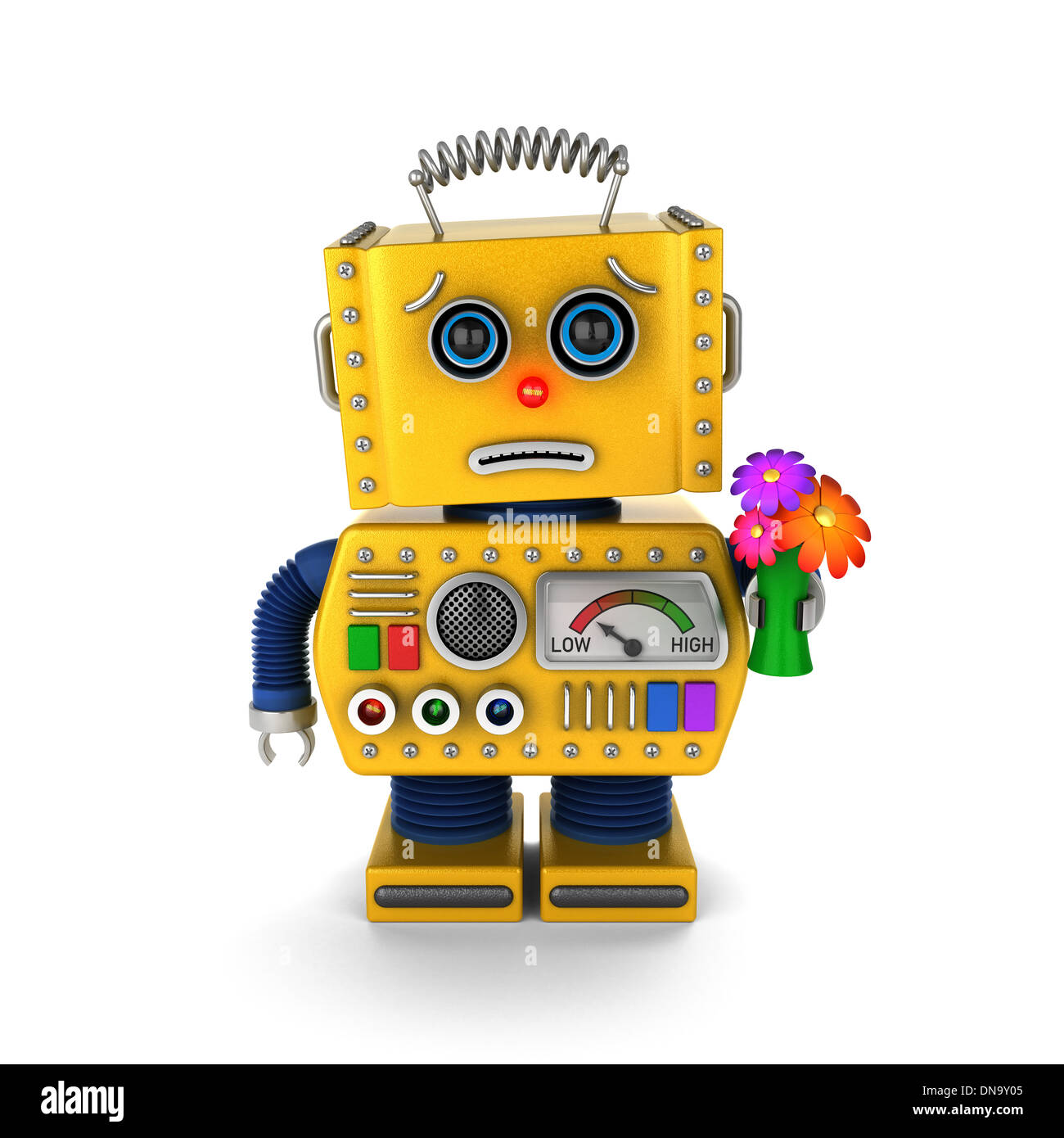 Cute vintage toy robot - Stock Image