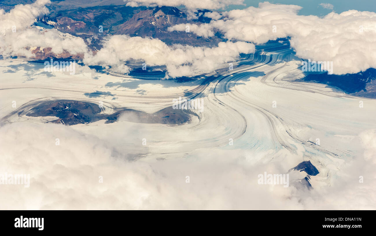 Southern ice field glacier from above, Argentina - Stock Image