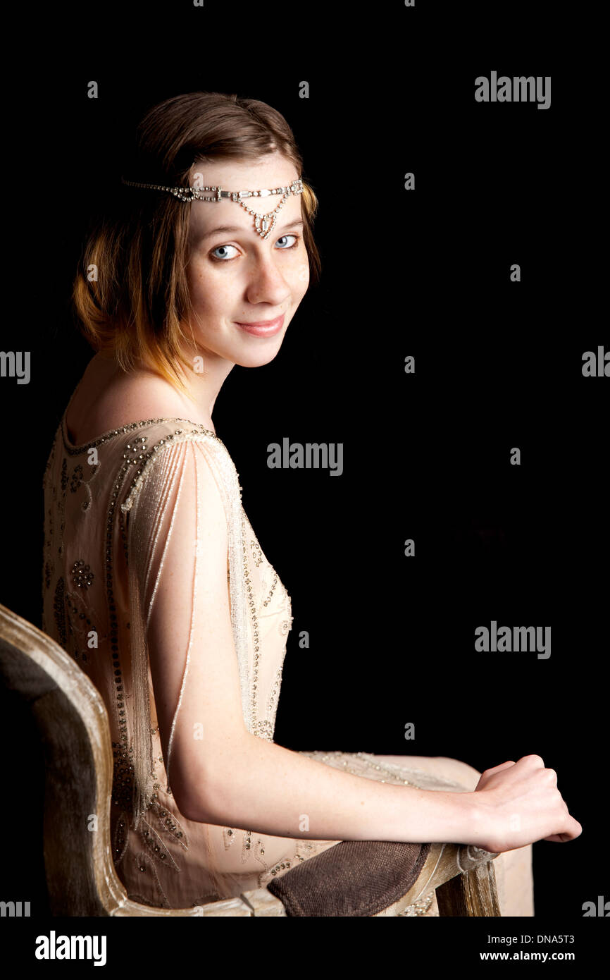 young, woman, girl, teen, dress, twenty's era, flapper, mystery, mystique - Stock Image