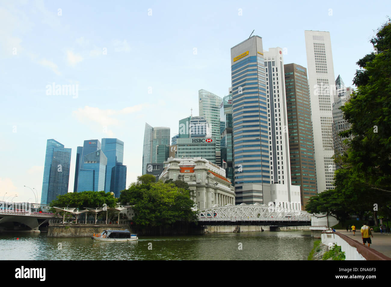 Anderson Bridge in front of Central Singapore. Singapore. Singapore River. - Stock Image