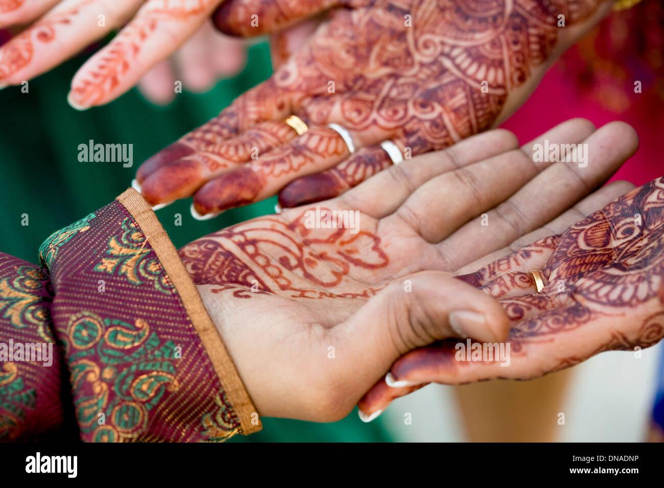 Henna Design Hands Wedding Ceremony Tradition Hindu Love Stock