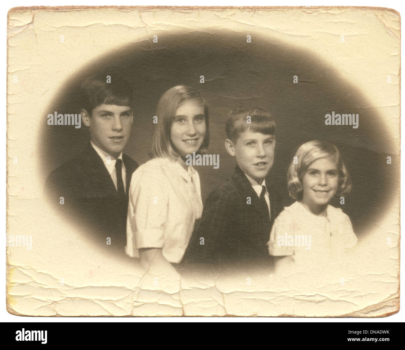 Family Portrait, Two Brothers and Two Sisters, Circa 1960's - Stock Image