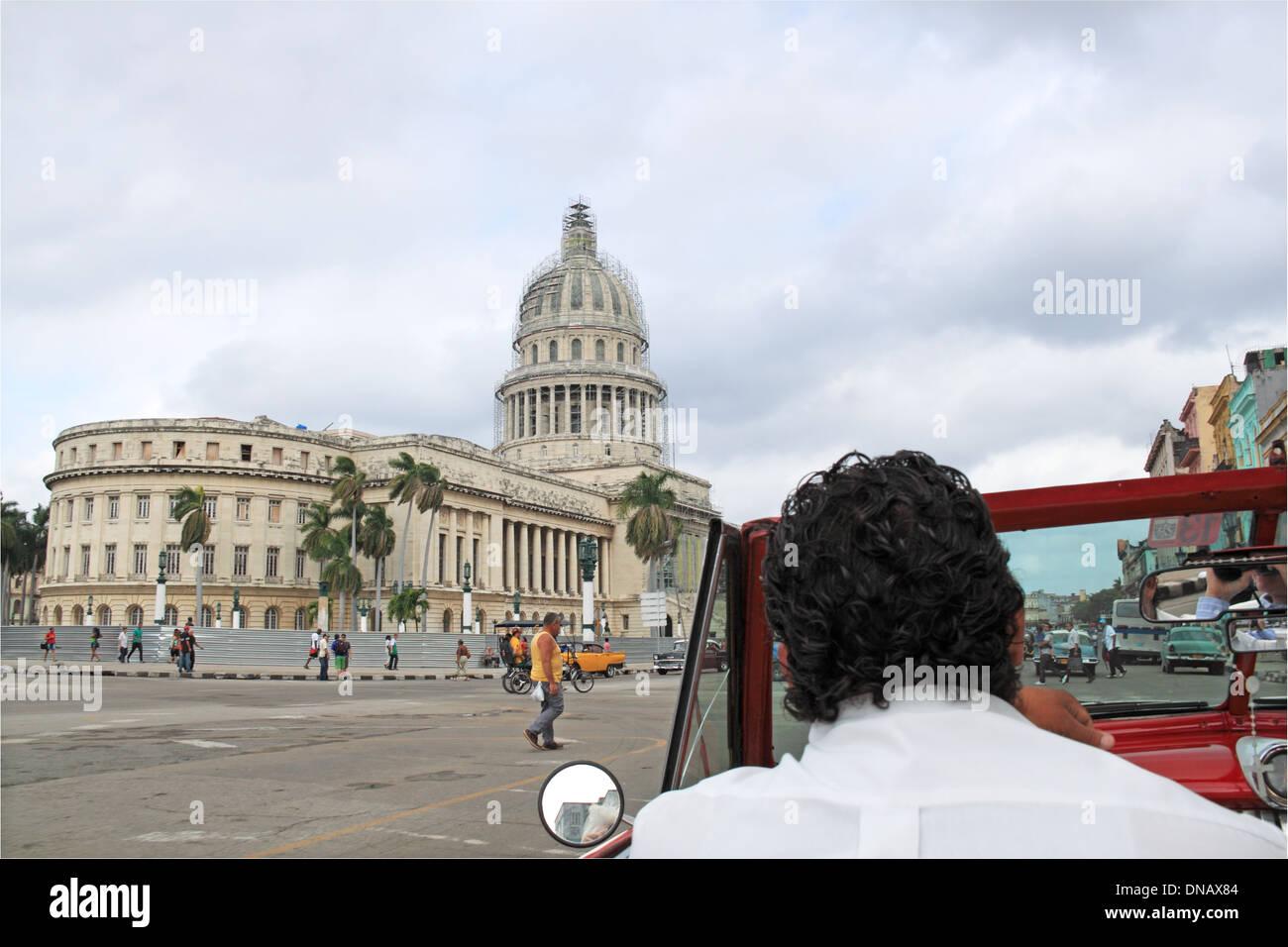 Capitolio, Paseo de Martí (aka Paseo del Prado), Old Havana (La Habana Vieja), Cuba, Caribbean Sea, Central America - Stock Image