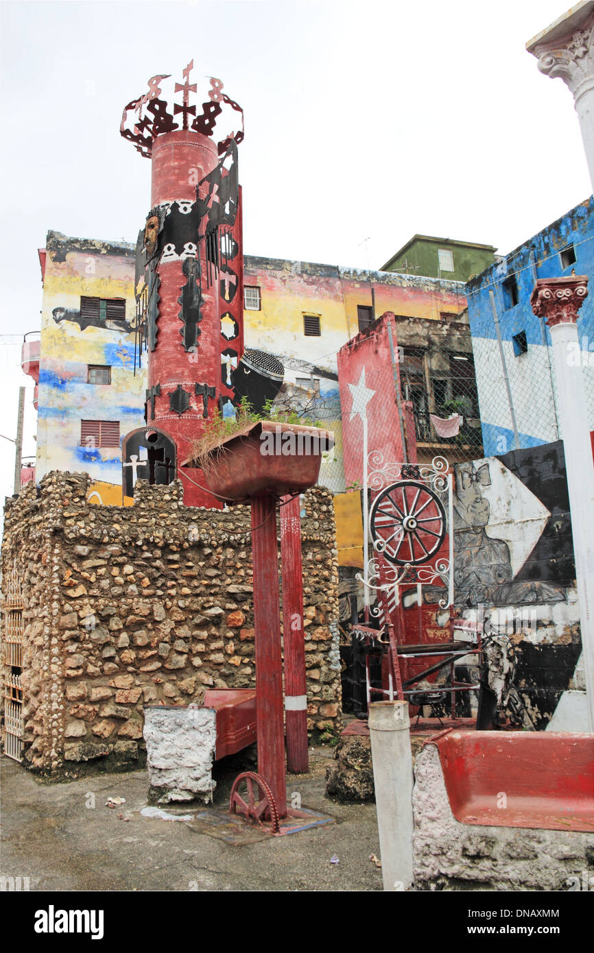 Street art at Callejón de Hamel, Vedado, Havana, Cuba, Caribbean Sea, Central America Stock Photo
