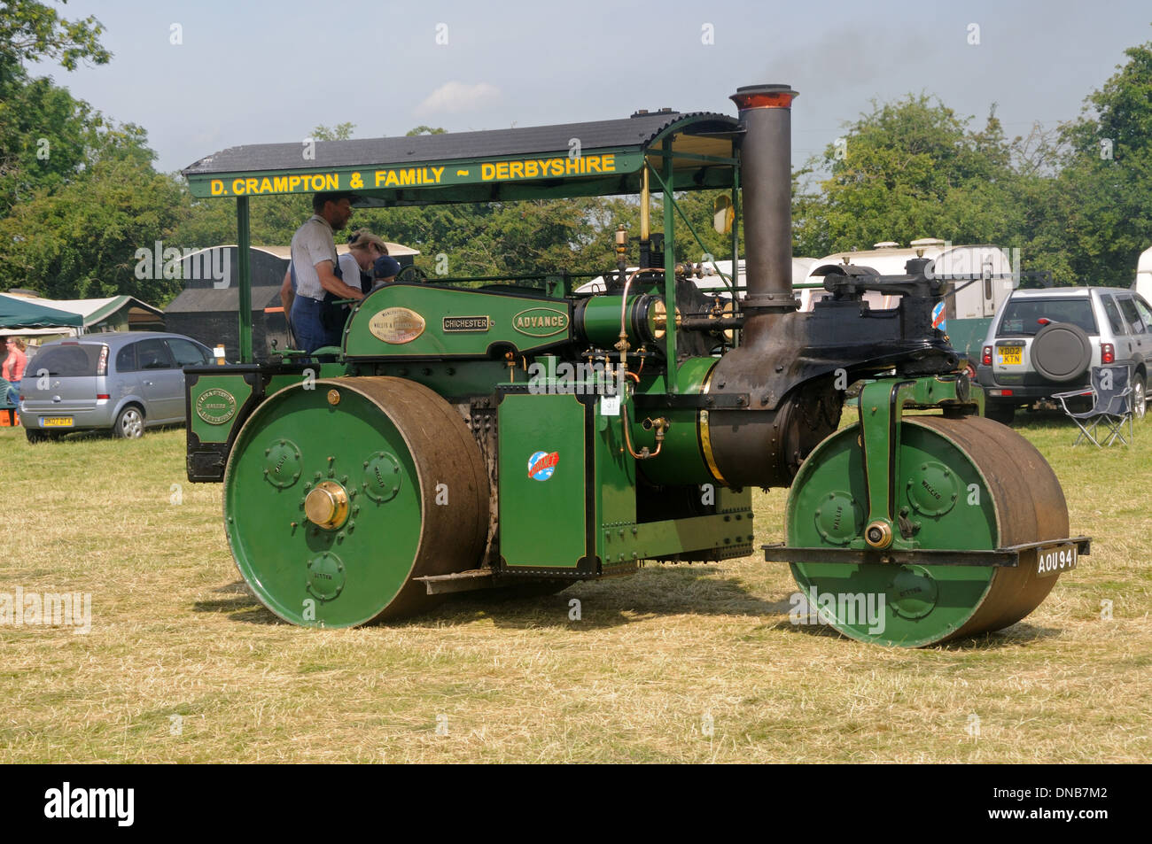 1936 Wallis & Steevens road roller at the 2013 Rempstone Steam & Country Fair, Turnpost Farm, Wymeswold, Leicestershire, England - Stock Image