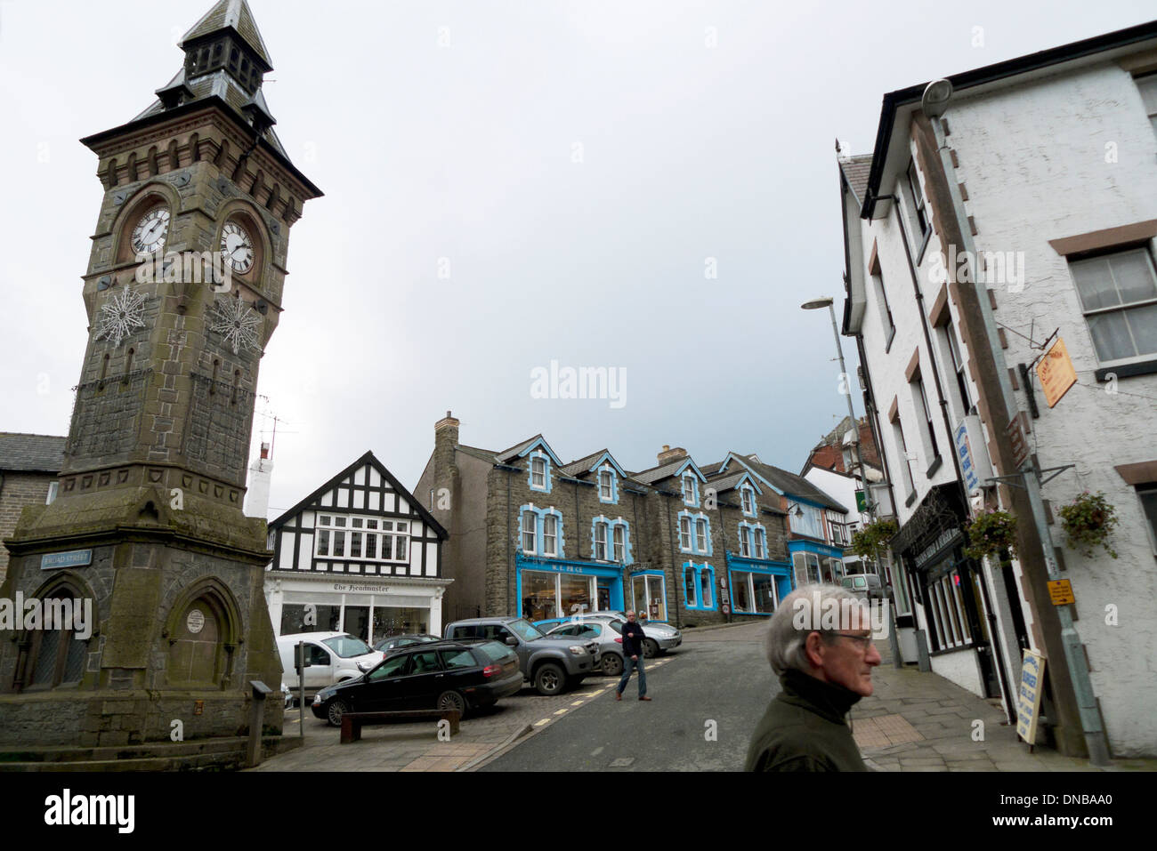 A view of the clock tower and Square on High Street in Knighton Powys Wales UK  KATHY DEWITT - Stock Image