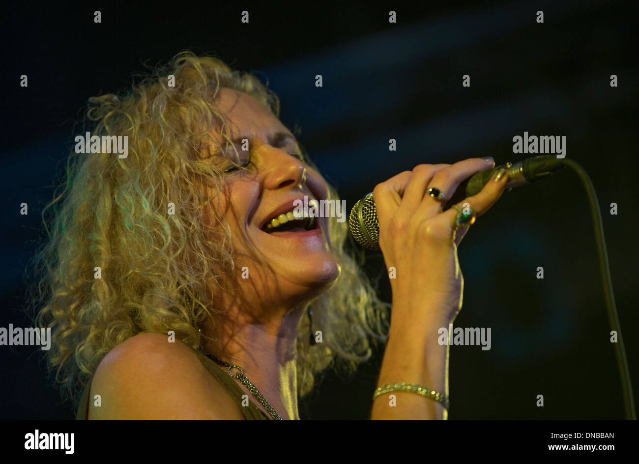 Zoe Schwarz with Blue Commotion at the 2013 Tenby Blues Festival, Wales UK - Stock Image