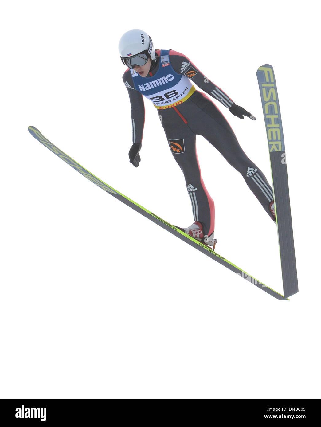 Hinterzarten, Germany. 21st Dec, 2013. Russia's Irina Avvakumova comes in third place at the ski jumping world cup in Hinterzarten, Germany, 21 December 2013. Photo: PATRICK SEEGER/dpa/Alamy Live News - Stock Image