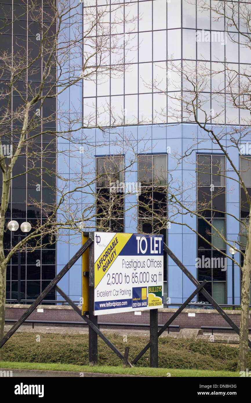 Estate agent's To Let sign for prestigious offices in a new building in Telford, Shropshire, England, UK, Britain - Stock Image