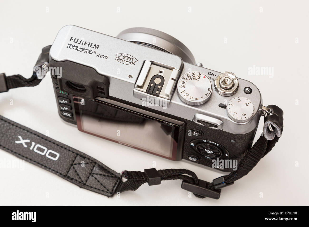 Fujifilm X100 traditional style retro compact digital camera top plate with dials - Stock Image