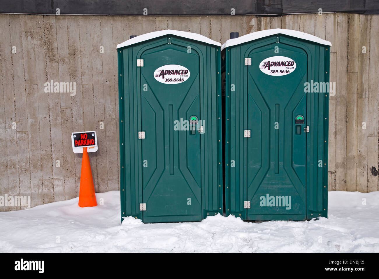 Side by side chemical toilets - Stock Image