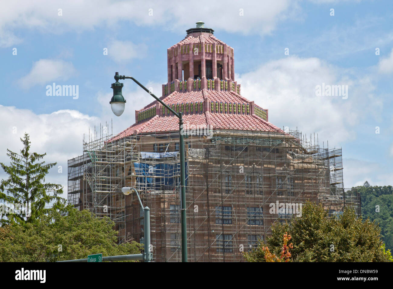 Downtown Asheville City Hall building under rennovation is bristling with construction scaffolding - Stock Image