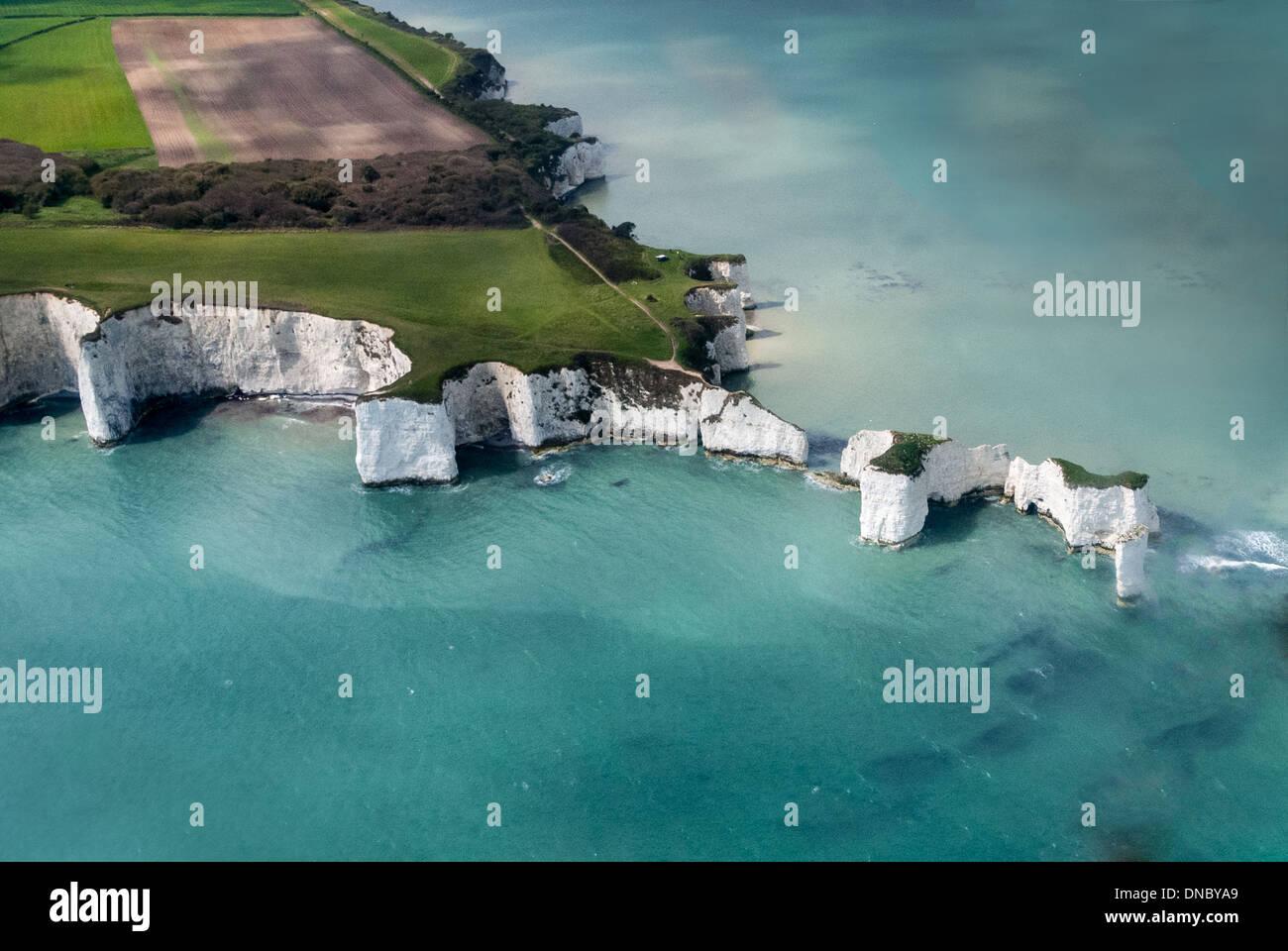 Aerial Image of Old Harry Rocks Handfast Point, Studland, Isle of Purbeck, Dorset, England, United Kingdom, - Stock Image