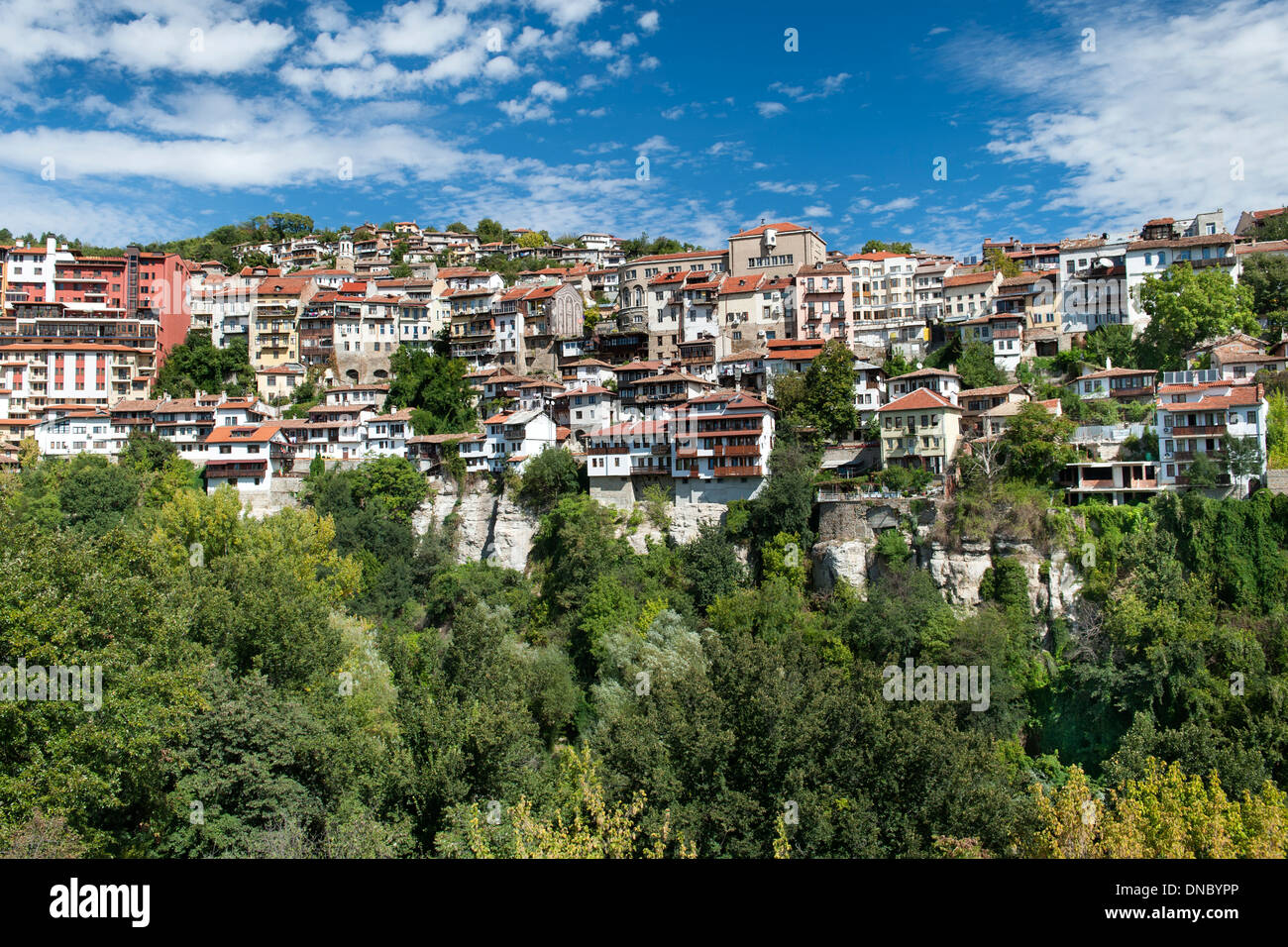 Houses on the hills of Veliko Tarnovo in Bulgaria. Stock Photo
