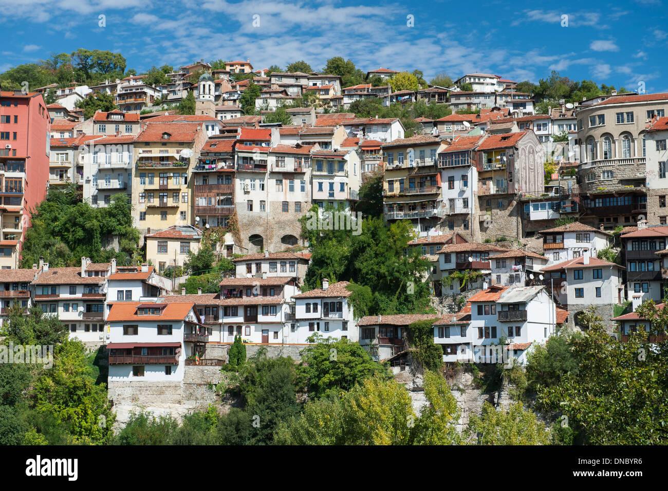 Houses on the hills of Veliko Tarnovo in Bulgaria. Stock Photo