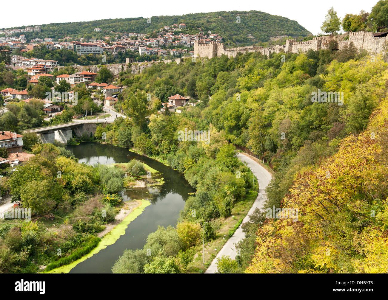 The Tsarevets fortress and Yantra river in Veliko Tarnovo in Bulgaria. Stock Photo
