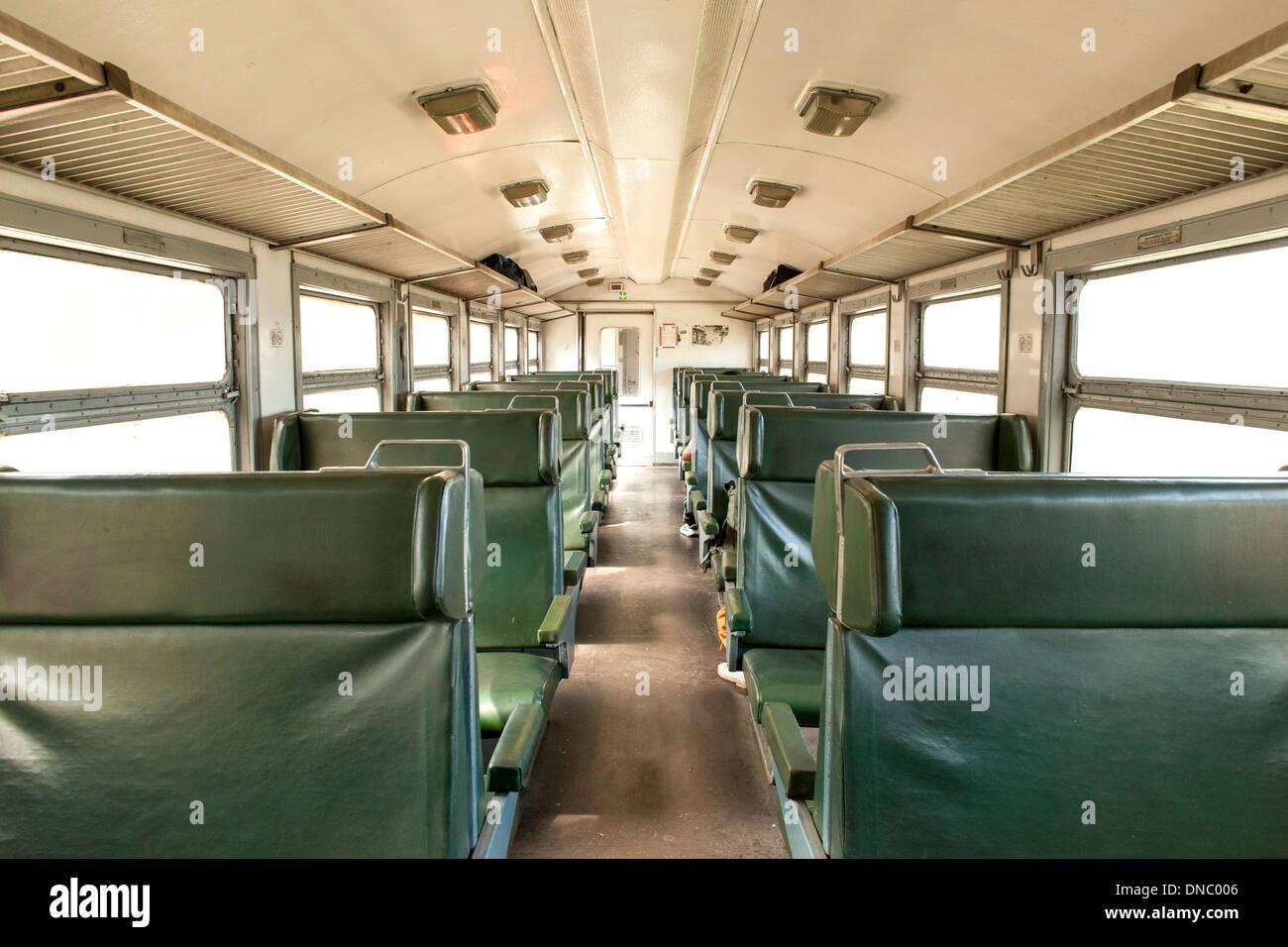 Interior of a Bulgarian inter-city train. - Stock Image
