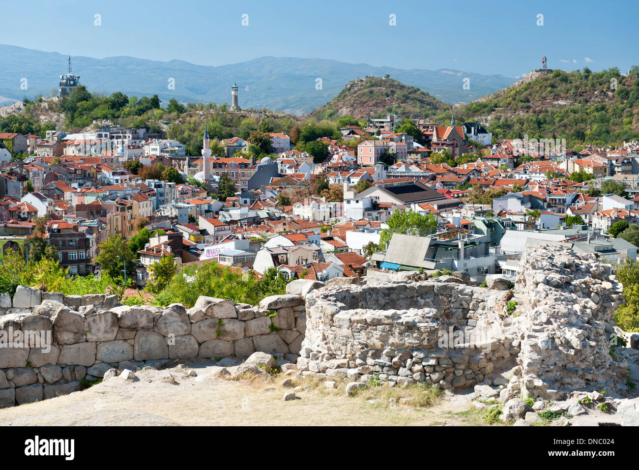 View from the ramparts of the ancient fortress on Nebet Hill in the old town in Plovdiv, the second largest city in Bulgaria. - Stock Image