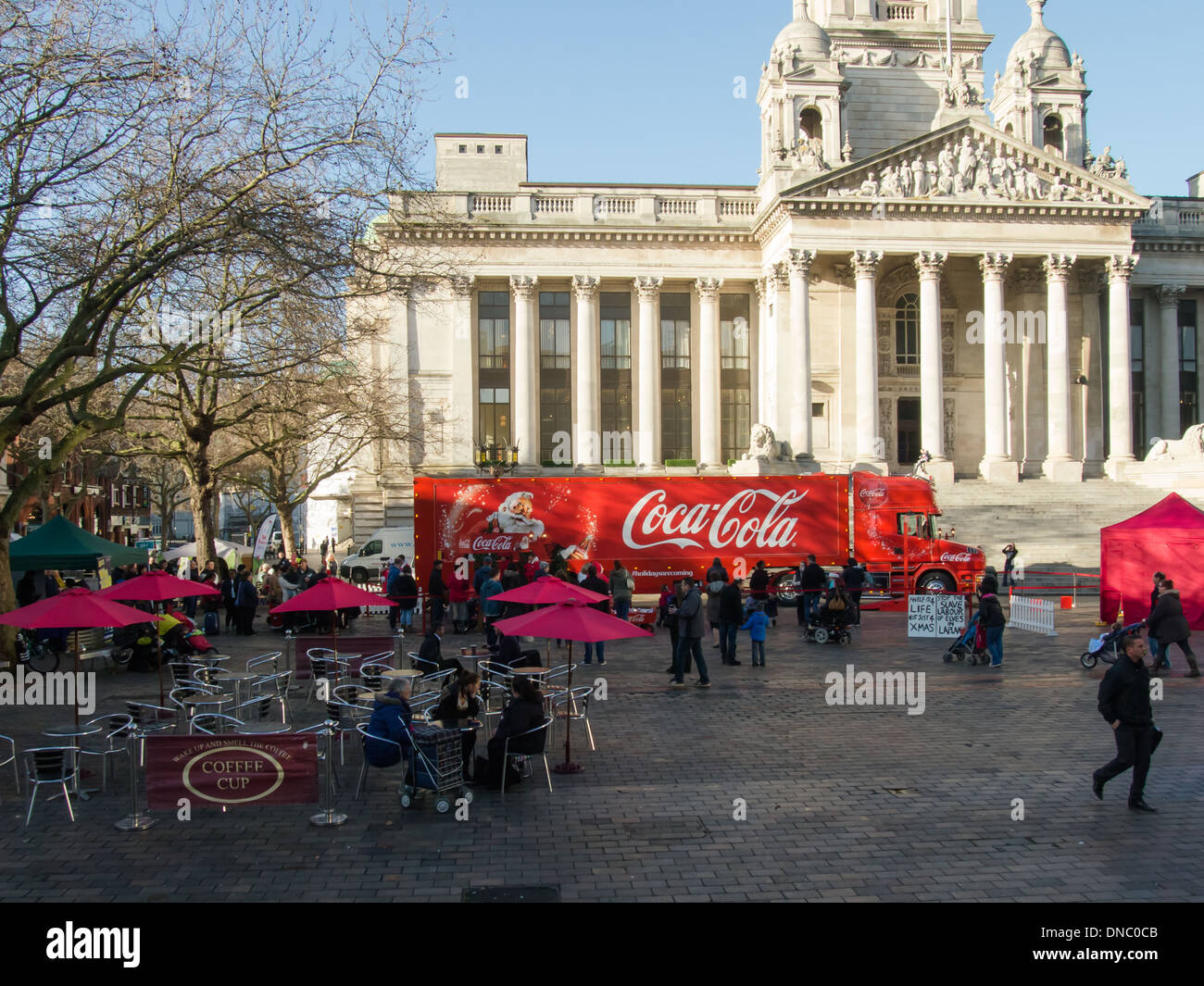 Coca Cola Truck in front of Portsmouth Guildhall, Hampshire. England - Stock Image