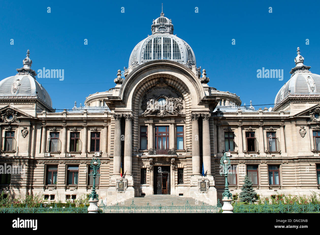 The CEC palace in Bucharest, the capital of Romania. It was built in 1900 and is the HQ of the national savings bank C.E.C. - Stock Image