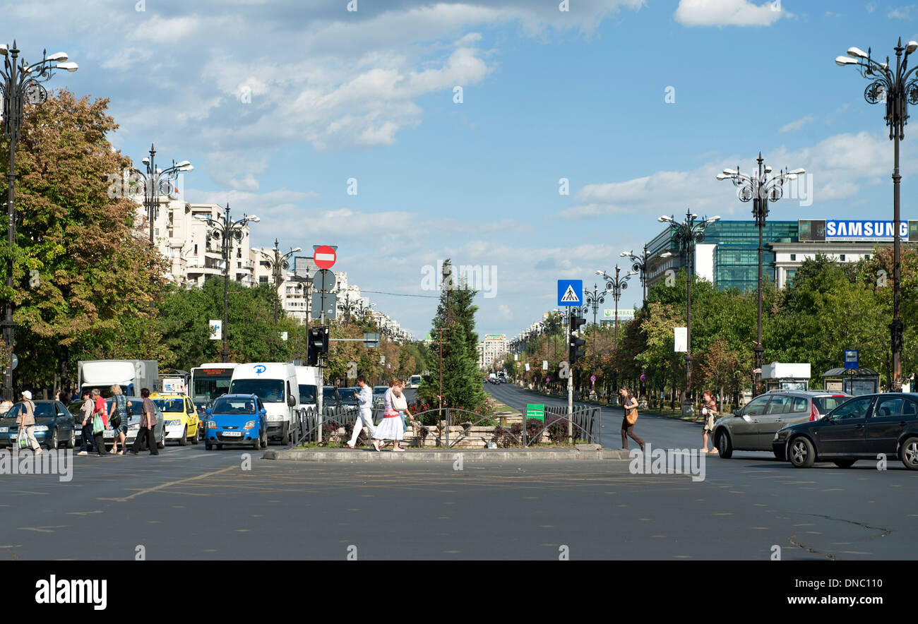 Bulevardul Unirii (Unification Boulevard) in Bucharest, the capital of Romania. - Stock Image