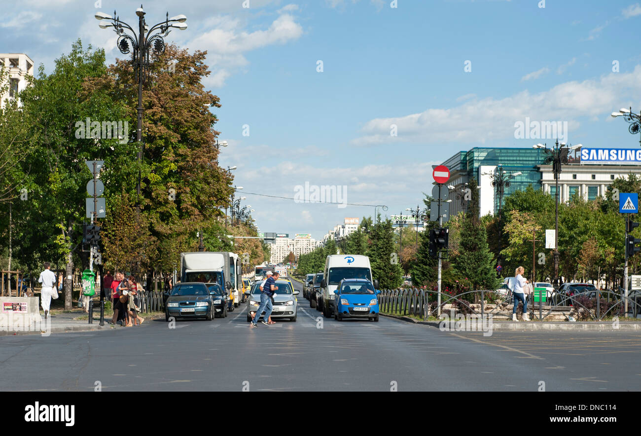 Bulevardul Unirii (Unification Boulevard) in Bucharest, the capital of Romania. Stock Photo