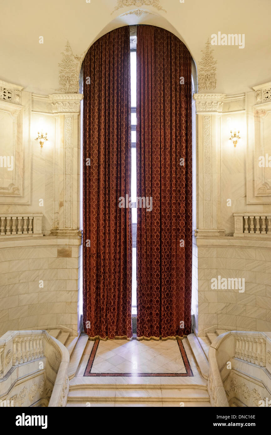 The tallest curtains in the world in the Palace of the Parliament in Bucharest, the capital of Romania. - Stock Image