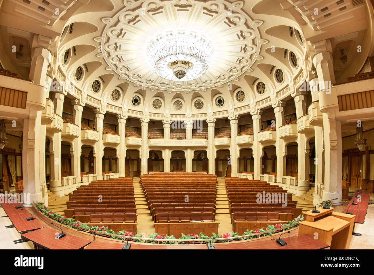 Interior of the Palace of the Parliament in Bucharest, the capital of Romania. - Stock Image