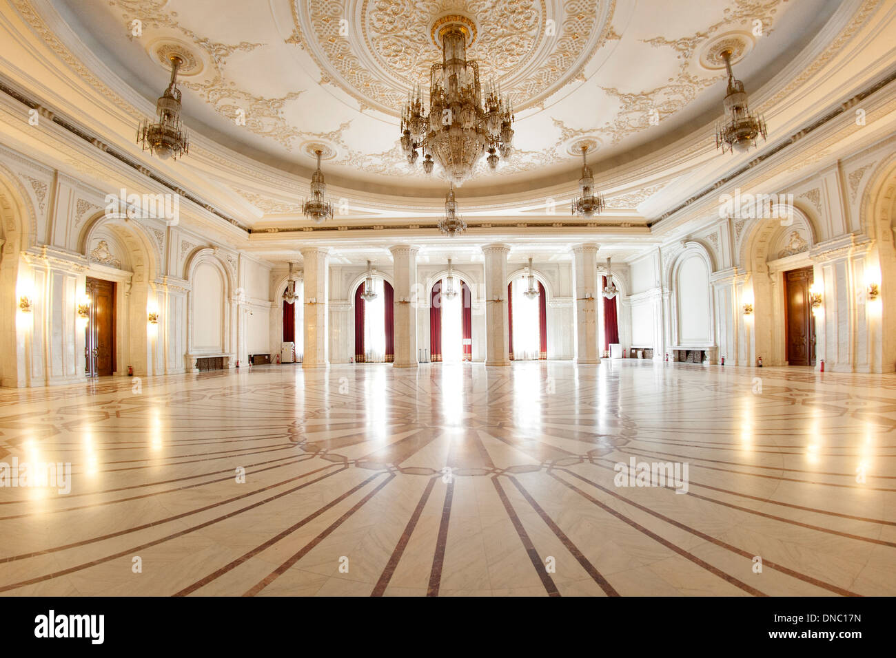 One of the numerous halls the Palace of the Parliament in Bucharest, the capital of Romania. - Stock Image