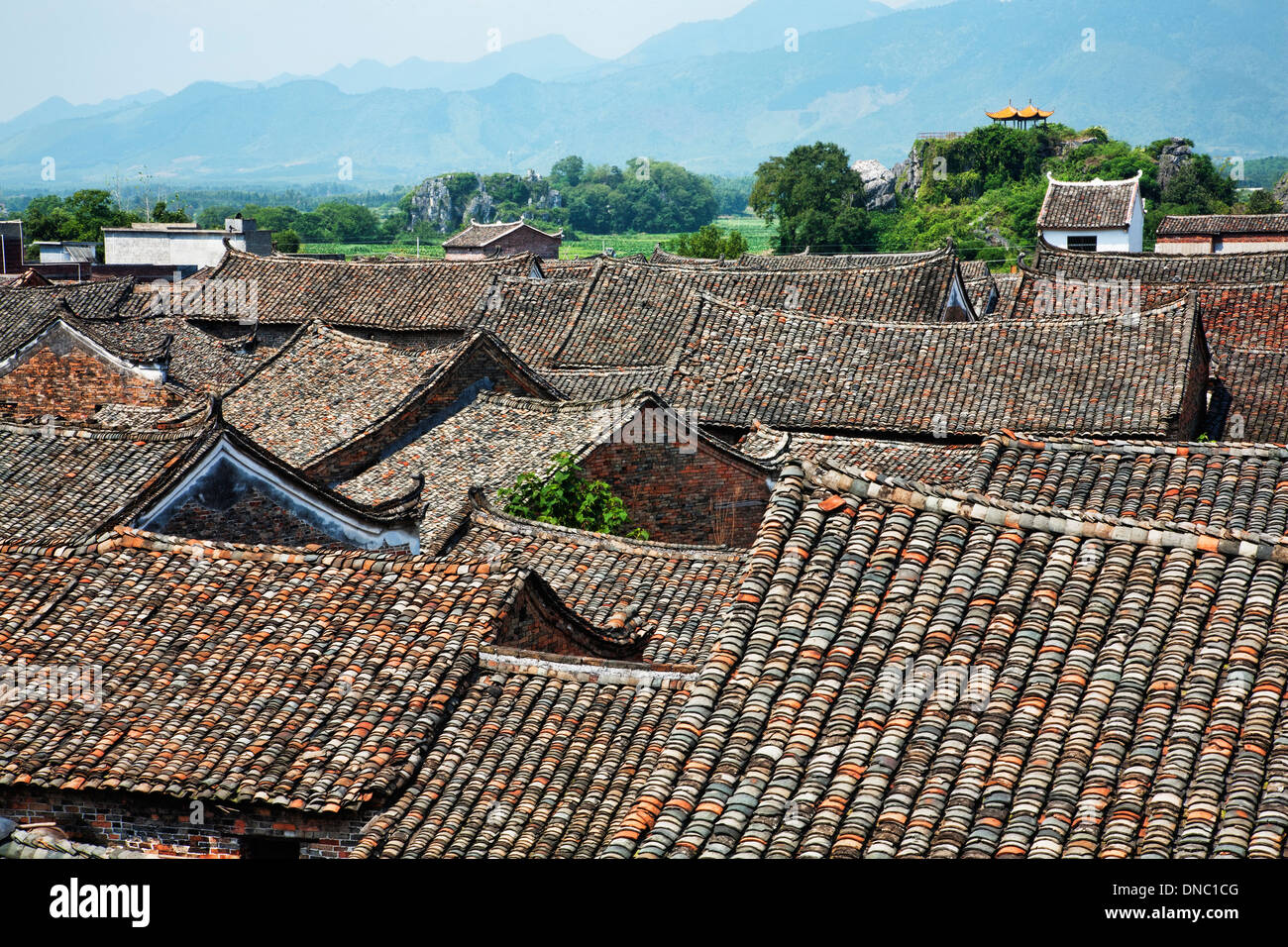 Roof tops of an ancient town in Hunan China Stock Photo