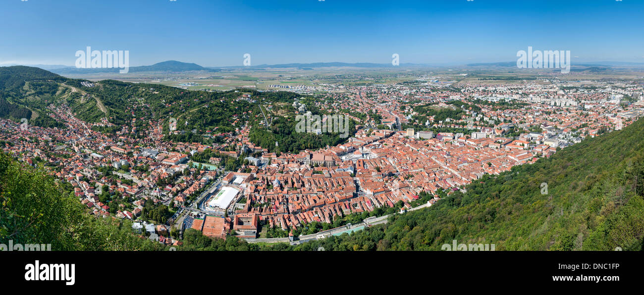 Panoramic vew of Brasov, a city in the Transylvania region of central Romania. - Stock Image